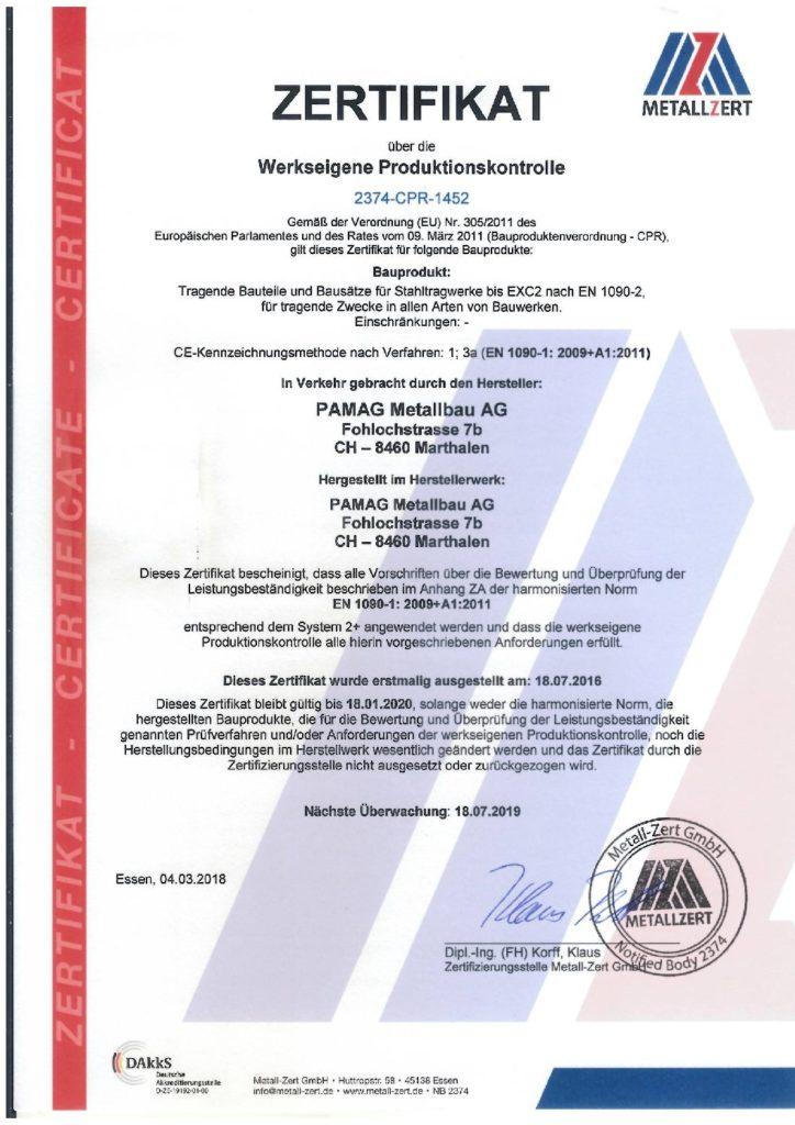Zertifizierung nach EN 1090 Ausführung von Stahltragwerken. - PAMAG ...
